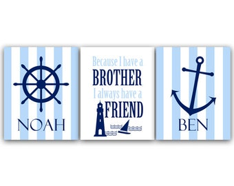 Brothers Wall Art, Brothers Quote CANVAS, Personalized Kids Wall Art, Kids Name Art, Twin Boys Wall Art, Boys Nautical Room Decor - KIDS69