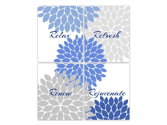 Bathroom Wall Art Relax Refresh Renew Rejuvenate Blue And