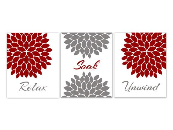 Bathroom canvas wall art relax soak unwind red and gray for Red bathroom wall decor