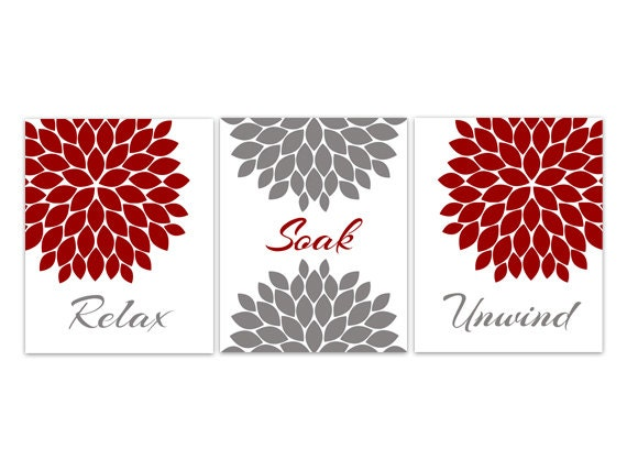 Bathroom canvas wall art relax soak unwind red and gray for Red and gray bathroom sets