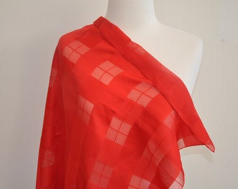 Mint condition large red sheer checkered scarf
