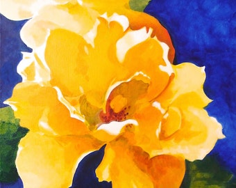 "Yellow Rose Original Botanical Art Acrylic on Canvas 12""x12"""