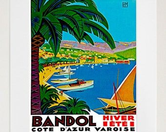 Art Bandol France Poster Travel Print Vintage French Home Decor (ZT107)