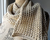 Knitted Lace Cotton Scarf, Beige Lace Scarf, Tan Scarf, Knitted Scarf, Organic Cotton Lace Scarf, Knitted Scarf