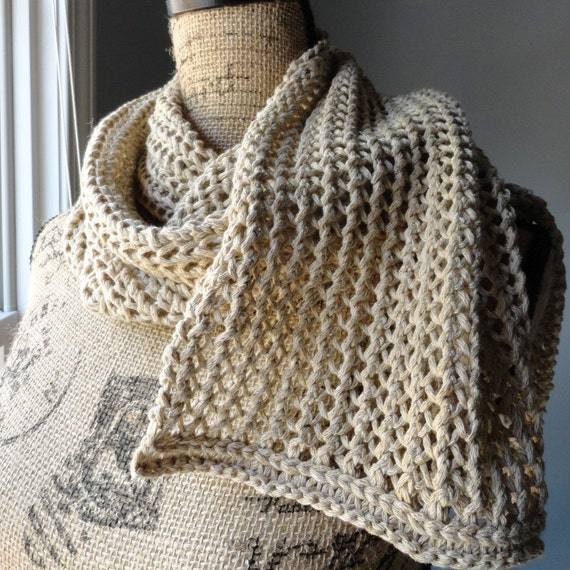 Knitted Lace Cotton Scarf Beige Lace Scarf Tan Scarf
