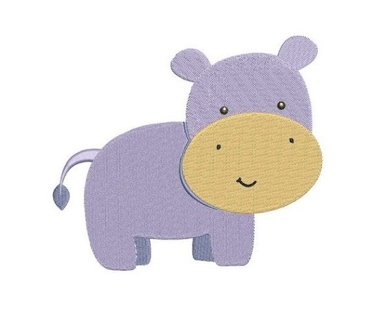 Hippo machine embroidery design filled digitized pattern