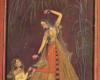 Indian Miniature Painting - Lady With a Thorn in Her Foot - 1959 printed reproduction