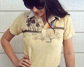 70's Small Terry Towel Retro Shirt Hawaii Sunset