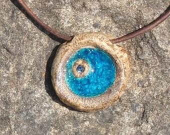 Ceramic Pendant with glass