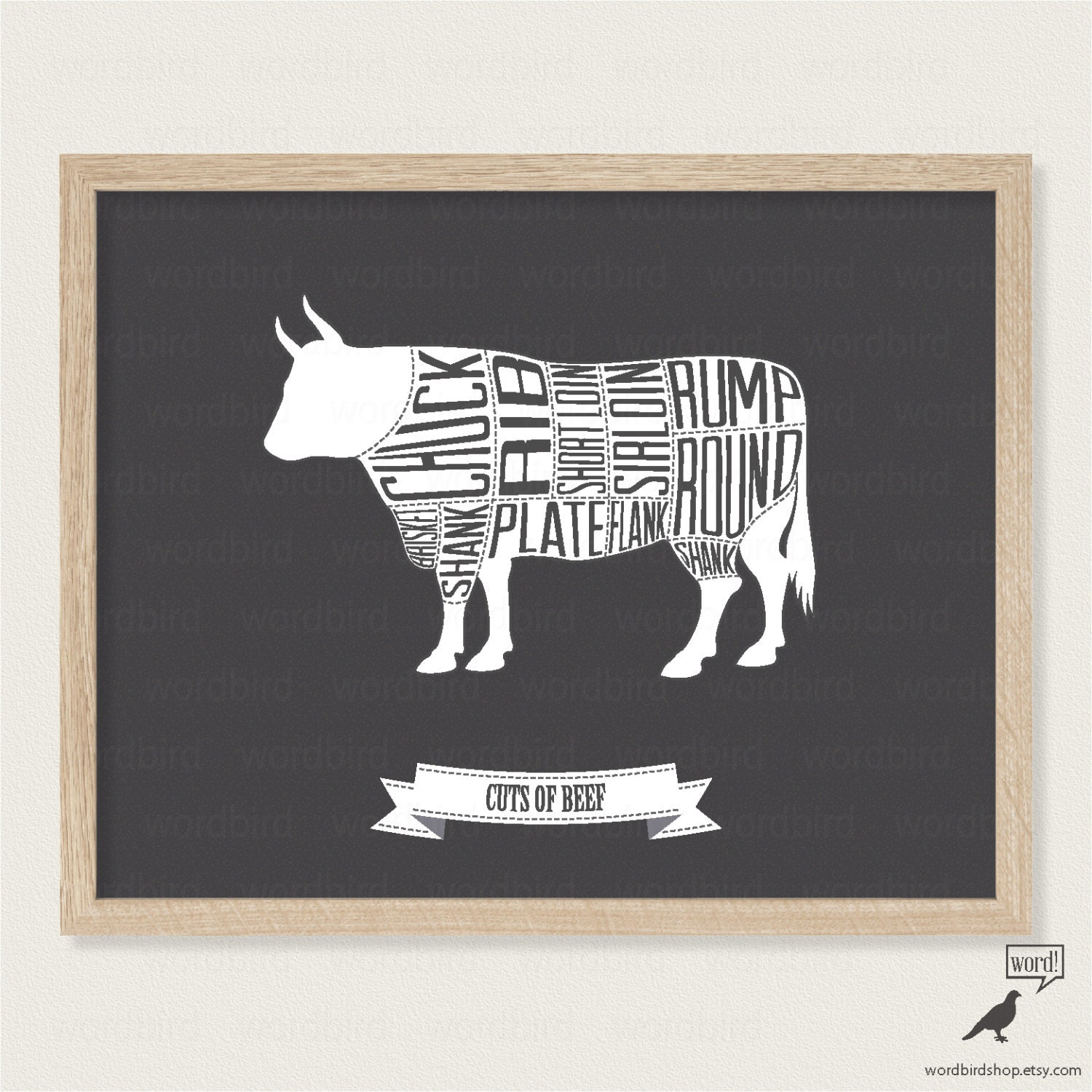 Black and white kitchen print beef butcher 39 s chart cuts for Black kitchen carcasses