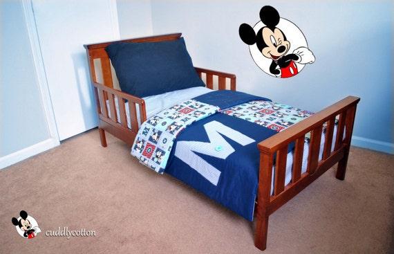 Disney mickey mouse toddler bedding set toddler quilt blue gingham