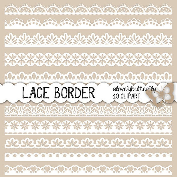 Items similar to Lace border clip art, Wedding lace ...