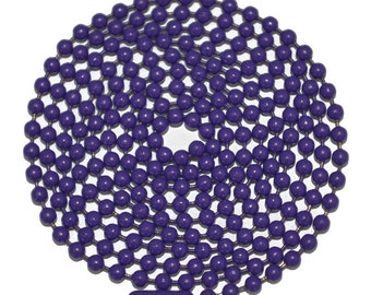 """Purple Ball Chain Stainless Steel 30 Inch Military Style Mens Chain Made in the US 30"""" 2.4MM Fashion Necklace Pendant Army Style"""