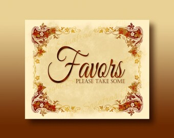 Favors please take some - Autumn / Halloween Wedding Sign - DIY Download and Print - Printable File - Autumn Leaves Design