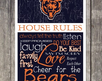 CHICAGO BEARS House Rules Art Print
