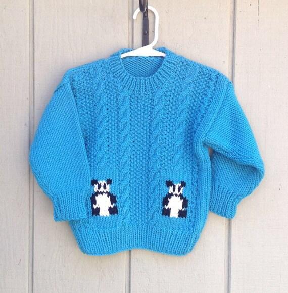 Knitting Pattern Panda Jumper : Girls panda sweater 2 to 3 years Kids jumper by LurayKnitwear