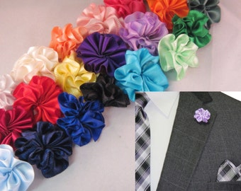 Men's Ruffle Flower Boutonniere Lapel Pin - Multiple Colors to Choose From!