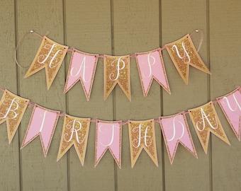 DIY Pink & Gold Happy Birthday Banner, Pink and Gold Glitter Birthday Party Decor, Happy Birthday Pennant Banner, Bunting, Birthday Decor