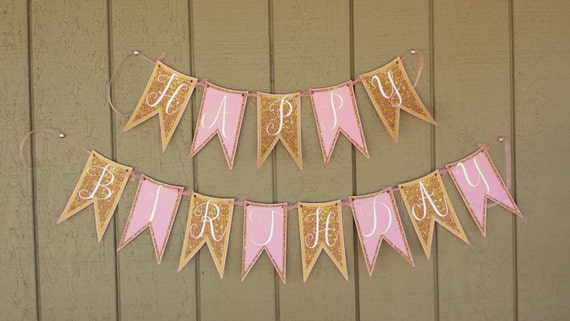 diy pink gold happy birthday banner pink and gold glitter