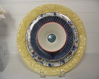 Upcycled Garden Plate Flower, Garden Art, Garden Art Decor, Yard Art, Yellow and Blue