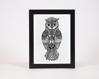 Owl Print | Aztec Design | Black & white Art | Original Illustration | Hand drawn art | Home Decor | Owl Artwork | Owl Art Print | Owl Decor