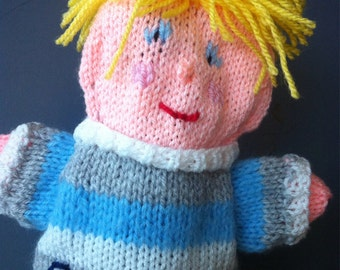 knitted baby puppet, personalized puppet, puppet newborn, puppet baby shower, puppet baby boy