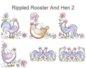 Rippled Rooster And Hen 2 Farm Animals Machine Embroidery Designs Instant Download 4x4 5x5 6x6 hoop 10 designs APE2031