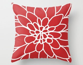 Dahlia Pillow Cover - Red - Modern Flower Throw Pillow - Home Decor - includes insert