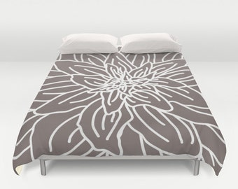 Modern Flower Duvet Cover - Taupe Brown - Queen Size Duvet Cover - King Size Duvet Cover