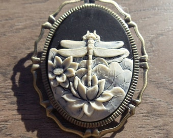 Ivory Dragonfly Steampunk Goth Vintage Inspired Cameo Brooch