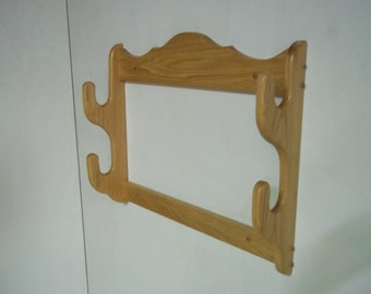 2 Gun Rack ~ Wall mount gun display rack ~ Red oak with natural or walnut stain, or unfinished