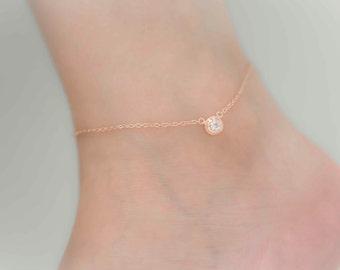 Rose gold anklet, rhinestone anklet, sideways anklet, rose gold, ankle bracelet, foot bracelet, rose gold ankle bracelet, bridesmaid gift