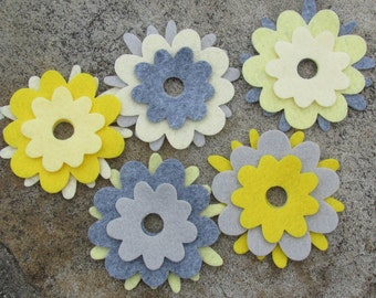 15 Wool Blend Felt Die Cut Applique Flowers - Bright Owl
