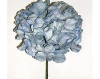 5 Stems of  Handmade Paper/Parchment Hydrangea-Mediterranean Blue