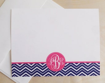 Personalized Custom Monogram Stationery Flat Notecards - Chevron Stationary - Set of 25