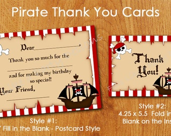 Pirate Thank You Cards - Instant Download