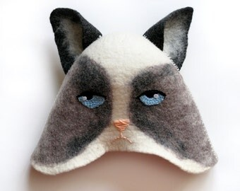 grumpy cat hat etsy. Black Bedroom Furniture Sets. Home Design Ideas