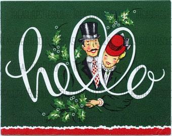 Retro Couple Hello Christmas Card #161 Digital Download
