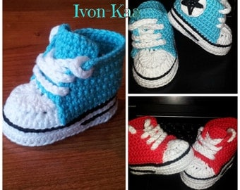 Free Knitting Pattern For Baby Tennis Shoes : Crochet pattern baby boy girl inspired by nike style shoes PDF