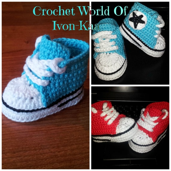 Crochet Baby Converse Pattern Free : Crochet pattern baby boy girl inspired by converse style shoes