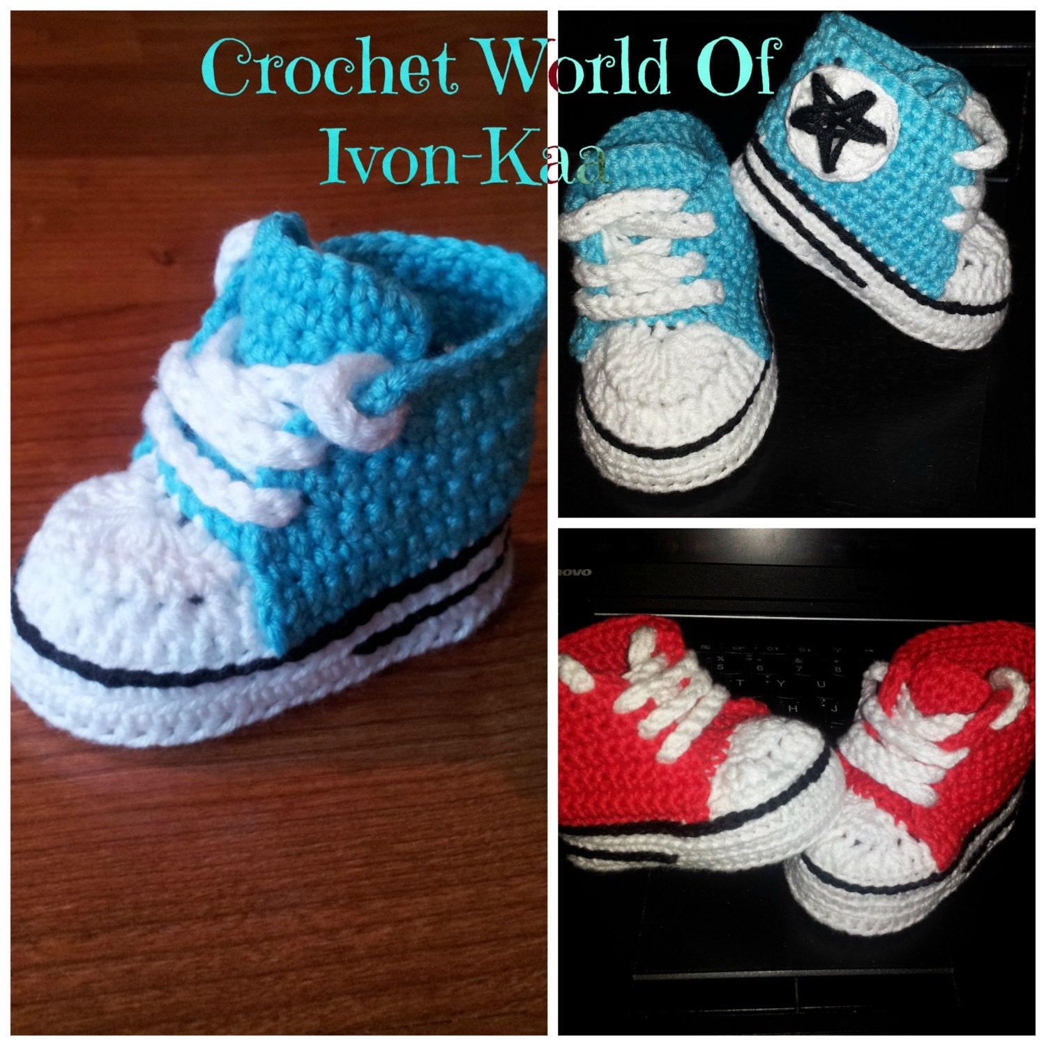 Crochet pattern baby boy girl inspired by converse style shoes