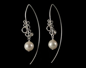 Sterling Silver Earrings with White Shell Pearl