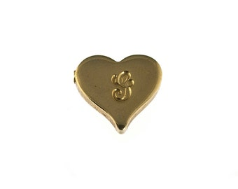 Vintage Gold Filled G Heart Pendant