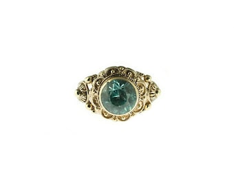 18K Blue Zircon Ring
