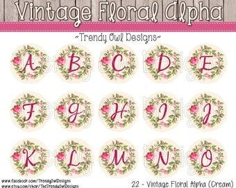 """Vintage Floral Alpha - Cream - Bottle Cap Images - INSTANT DOWNLOAD - 1"""" Bottle Cap Images 4x6 - 22"""