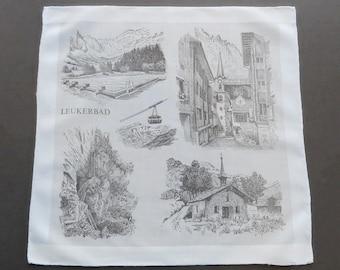 Sale - Vintage Swiss Souvenir Hankie Handkerchief - Landmarks of Leukerbad  in Valais Switzerland