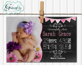 Baby Announcement, Girl Baby Announcement, Chalkboard Baby Announcement, Unique Baby Announcement, Personalized Baby Announcement
