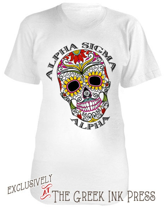 Flower power sugar skull design custom sorority t shirt for Sorority t shirt design