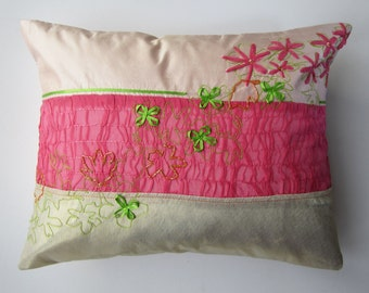 Pink & gold pleated and embroidered silk cushion