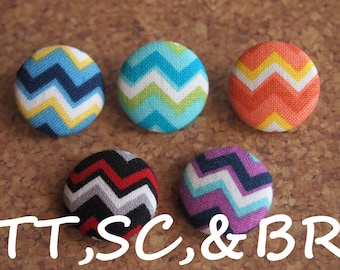 Chevron  fabric covered buttons (Tie Tacks, Shoe Clips, Brooch)